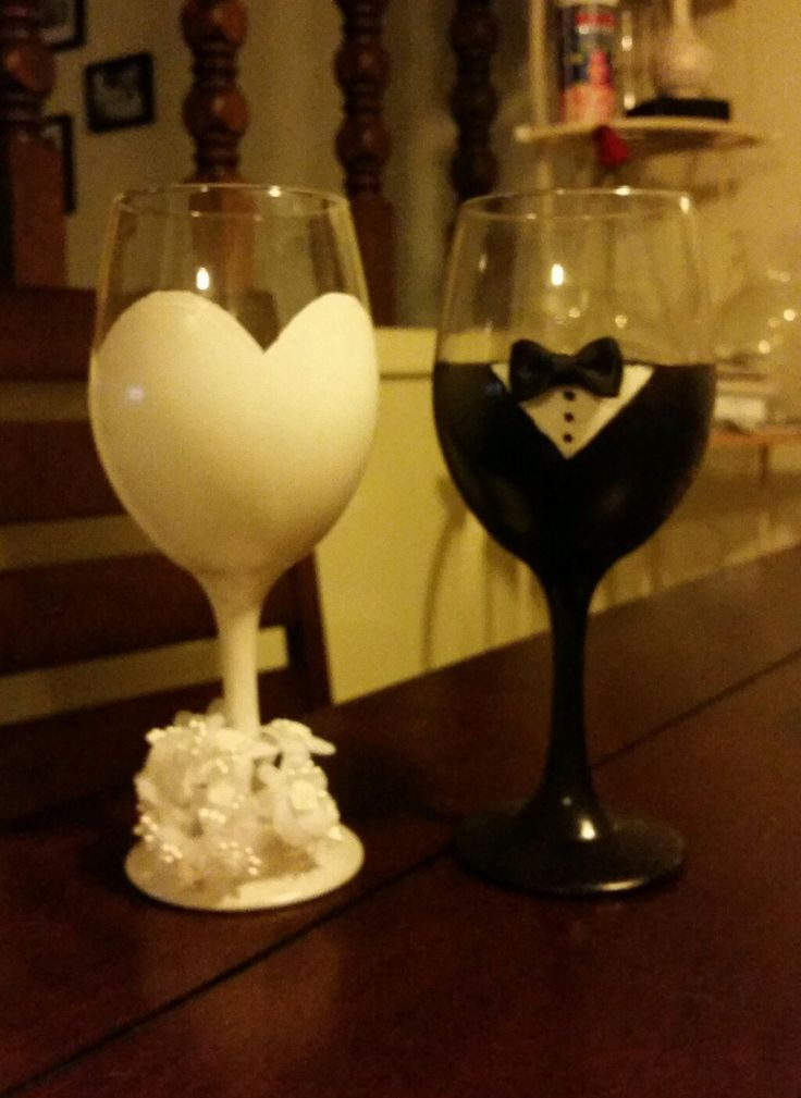 hand painted bride and groom wine glasses