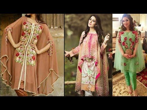 Beautiful Embroidered Pakistani Cape Dresses With Sleeves Style Latest c...