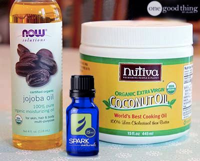 """Coconut Oil Deep Conditioner and Detangler    -    2 tablespoons coconut oil     1 tablespoon jojoba oil     3 drops of essential oil of your choice """"I used peppermint. It smelled SO good!!"""""""