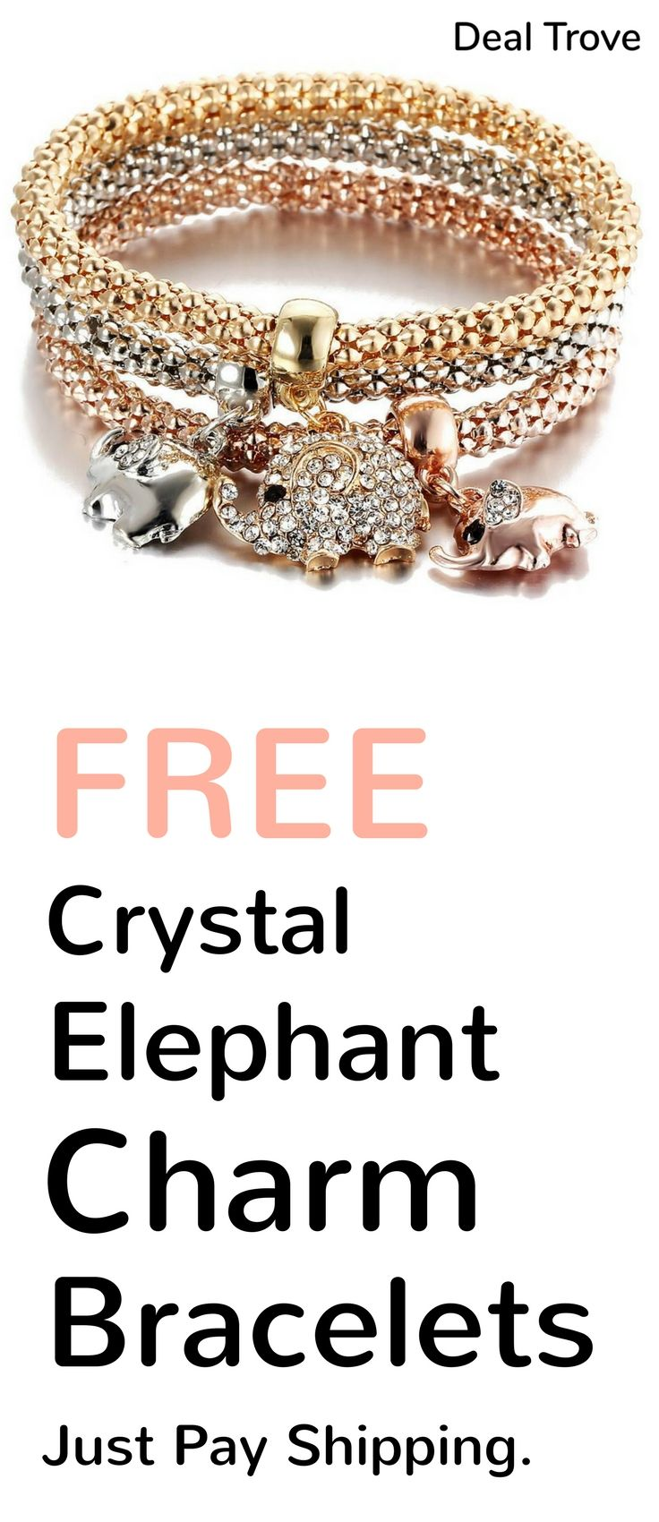 Free Jewelry Just Pay Shipping : jewelry, shipping, Crystal, Elephant, Charm, Bracelet, Great, Every, Lover., Wherever, Unique, Stylish, Smykker,, Elefanter