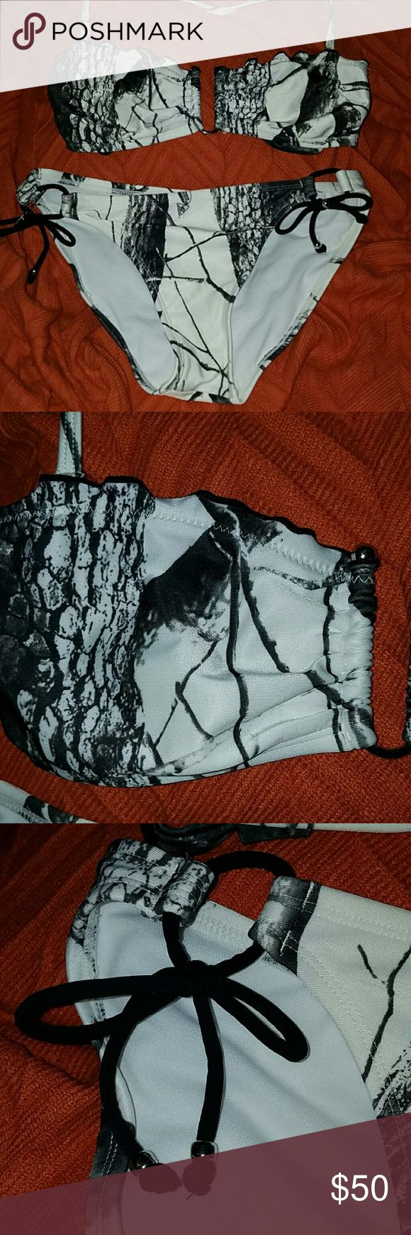 Realtree White Camo Swimsuit Realtree Hardwoods Snow Camo Bikini- Only worn once! Top is a Bandeau with a removable halter strap 'U' bar front, tie back Bottoms tie on sides, with silver beads Swim Bikinis