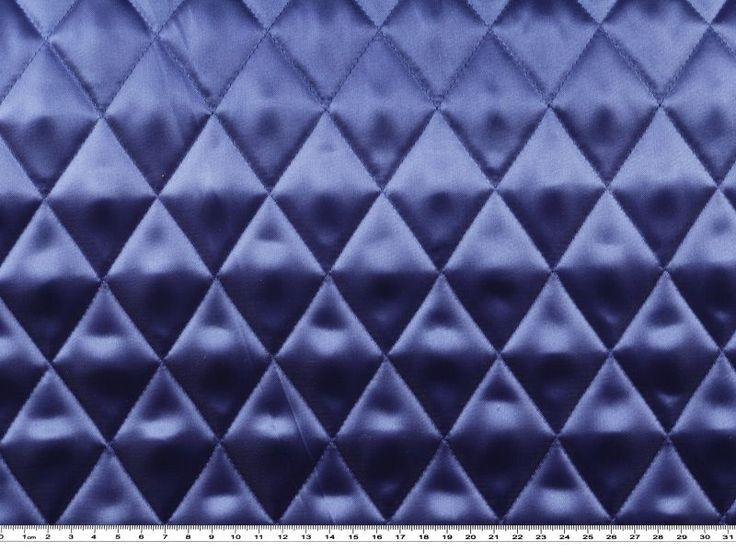 Tessuto raso trapuntato in poliestere, blu segnale, altezza 140cm