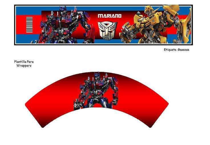 Kit Imprimible Transformers 4 Cumpleaños Fiesta Torta Robots - $ 40,00