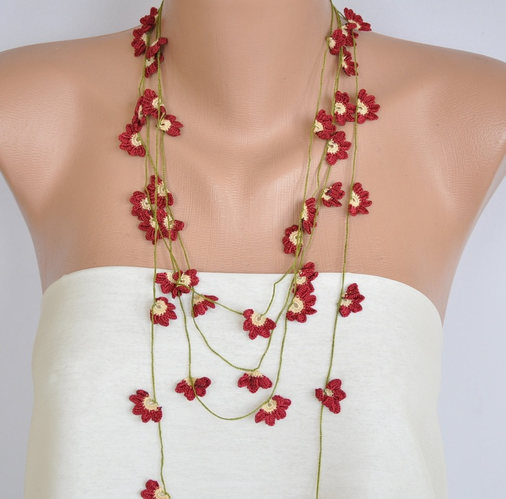 Hand Crocheted Red and Cream Daisies Scarf  Necklace.