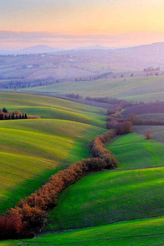 Glimmers of light in the Marches, rolling hills, Central Italy by Maurizio Caporaletti