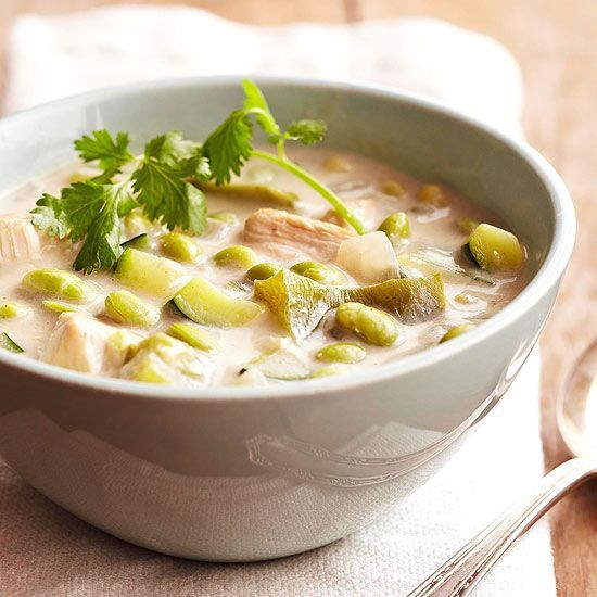 Chicken-Edamame Chowder has only 350 calories per serving. Yum! http://www.bhg.com/recipes/slow-cooker/spring-slow-cooker-recipes/?socsrc=bhgpin02022014chickenedamamechowder&page=17
