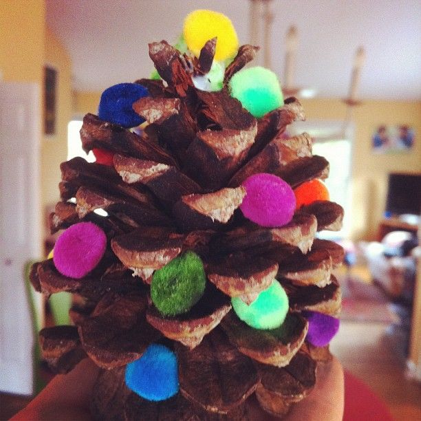 pom-pom pine cone trees (as seen on pinterest!)  we used scented pine cones and cheap pom poms from the craft store.  it was a great craft for both my kids (age 7 & 2).  http://thewoolacorn.blogspot.com/2010/10/tutorial-for-my-pinecone-christmas.html