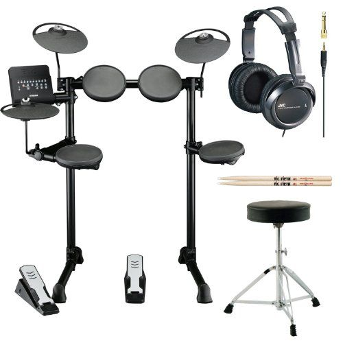 Yamaha DTX400K 10 Customizable Drum Kits Electronic Drum Set with Drum Throne, Vic Firth 5A Drumsticks and Stereo Headphones * Click image for more details.
