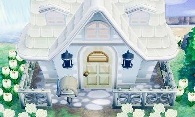 Acnl wunderschönes Haus von aussen mit weißen blumen... Hach! Ich liebe es!