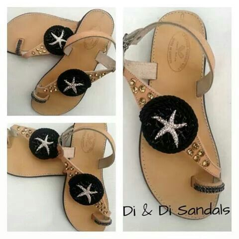 Leather sandals decorated by hand