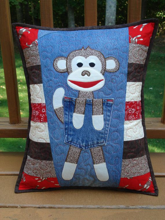 """Pattern for """"Clever Monkey""""  Quilted Pillow made with Upcycled Recycled Denim…"""