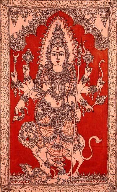 The Warrior Goddess Durga - Kalamkari Cotton Painting
