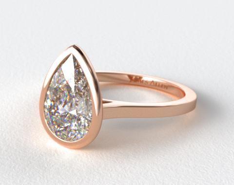 14K Rose Gold Bezel Solitaire Engagement Ring (Pear Center) James Allen - beautiful!
