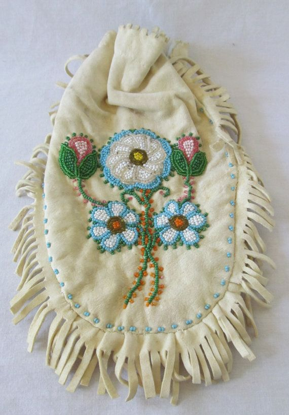 Vintage Native Medicine Pouch Leather Hand by GifttotheWorld, $25.00