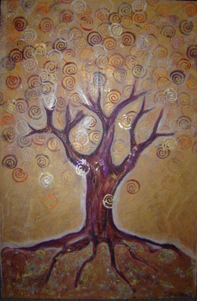 glory tree acrylic & gold leaf  copyright sharron jones
