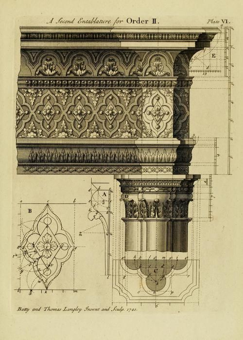 Gothic architecture (1742)   Author: Langley, Batty Subject: Architecture; Architecture, Gothic; Architecture, English; Architecture Publisher: London : Printed for I. & J. Taylor, at the Architectural Library, Holborn Year: 1742