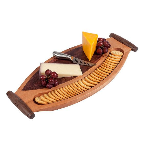 NEED IT QUICK...contact us to see if it is in stock, ready to ship.  This beautiful wood cheese board is hand crafted from 3 different hardwoods. This serving tray can be used for cheese and crackers, and has handles for easy carrying. The serving tray body is made from either cherry or maple, with a zebra wood inlay bordered with 1/8 wide walnut. The hand turned handles are also from walnut.  This listing is for one serving tray. You can choose either cherry or maple. Both boards will i...