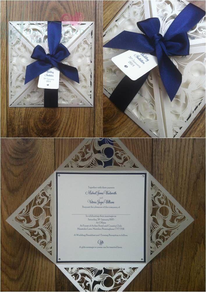 Navy Wedding Laser Cut Invitation  www.jenshandcraftedstationery.co.uk www.facebook.com/jenshandcraftedstationery