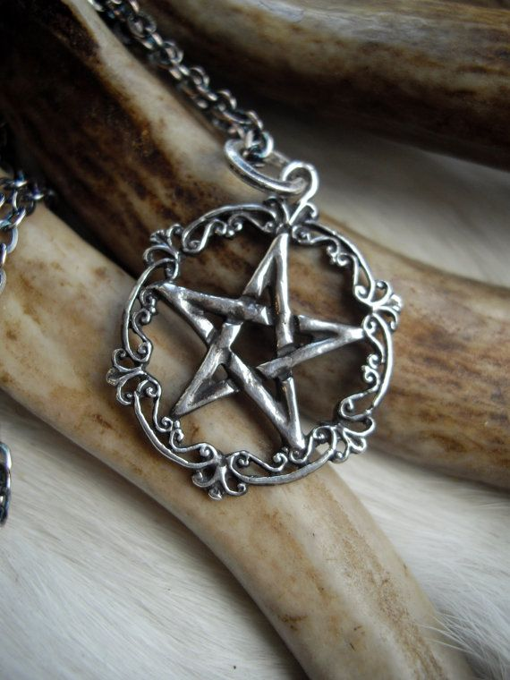pentacle necklace, sterling silver, victorian, gothic  style
