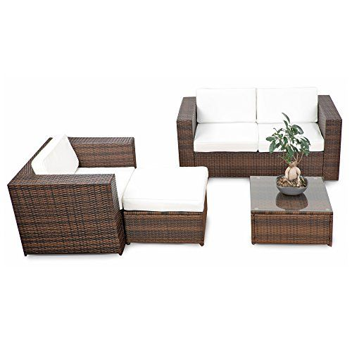 Rattan Lounge Möbel Balkon Sitzgruppe   Braun Mix   Garnitur Gartenmöbel  Lounge