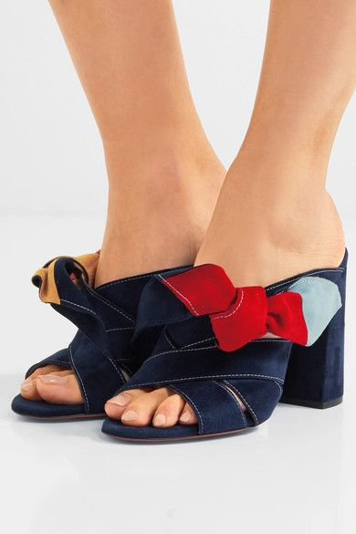 Heel measures approximately 100mm/ 4 inches Multicolored suede Slip on Made in ItalySmall to size. See Size & Fit notes.