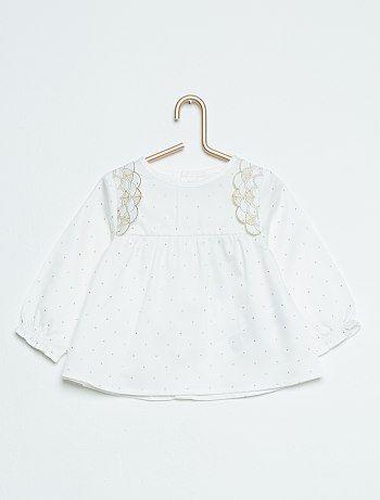 Blouse à pois pur coton blanc Bébé fille - Kiabi