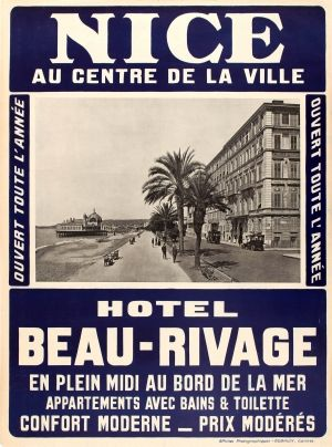 Nice Hotel Beau Rivage Riviera, 1910s - original vintage poster listed on AntikBar.co.uk