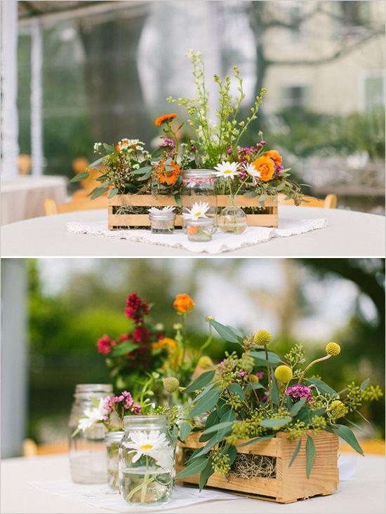 boxed floral centerpieces #weddingreception #centerpieceideas #weddingchicks http://www.weddingchicks.com/2014/03/10/unique-and-earthy-wedding/