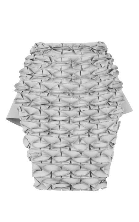 Origami Fashion - grey skirt with folded fabric design - structural fabric manipulation for fashion; sewing; creative textiles design // J.W. Anderson