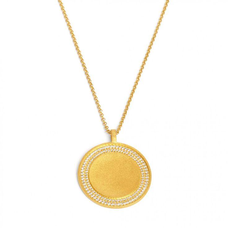 Anhänger Sonrisa in goldplattiert mit einer Concaven Innenfläche und funkelnden Zirkonia in Brillantschliff #BERNDWOLF #Schmuck #Anhänger #goldplattiert #funkeln #LieblingsSchmuck #jewelry #GermanDesign