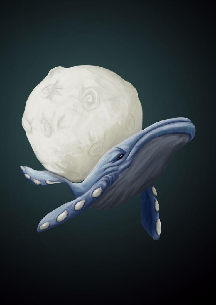 whale in sky #whale, #draw, #digitalart, #moon