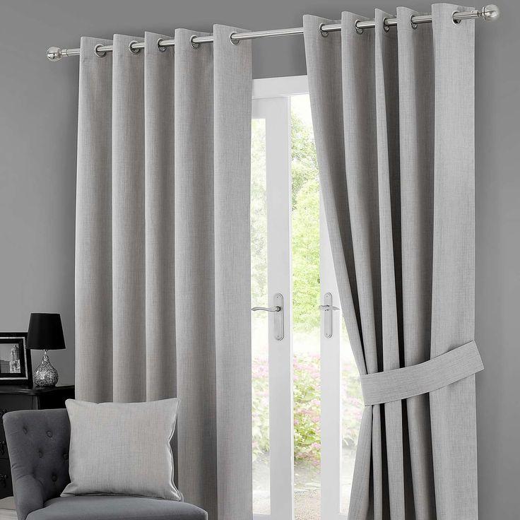 Grey Solar Blackout Eyelet Curtains | Dunelm
