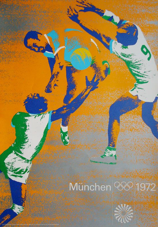Olympische Spiele 1972 München Motiv Handball DIN A1 OLYMPIADE Otl Aicher
