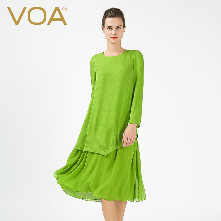 >> Click to Buy << VOA new light green silk dress 2017 spring silk dress in wide Sunscreen sleeved asymmetric female A6368 #Affiliate