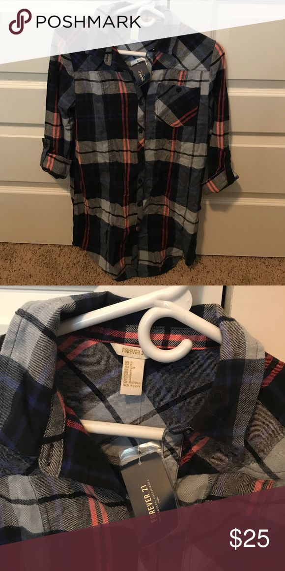 Extra long Flannel- shirt or dress multi use Brand New never worn- flanel dress from forever 21 Forever 21 Dresses Long Sleeve