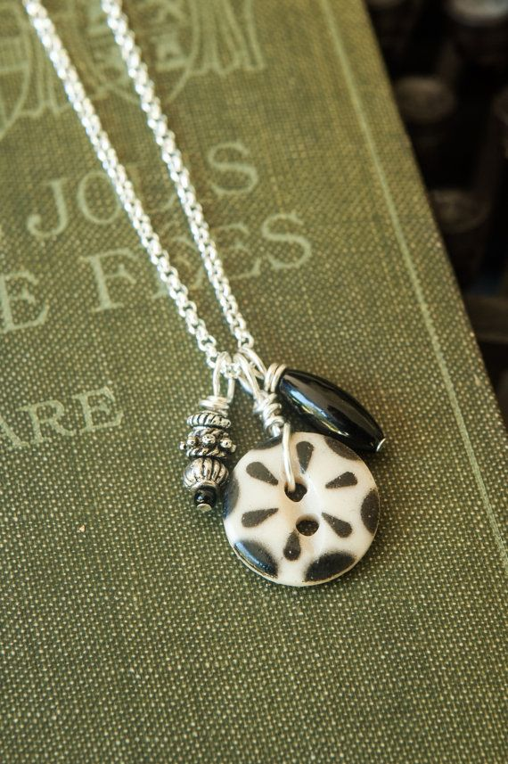 Vintage Button Pendant with Black and Silver by MyForeverTreasures, $12.00