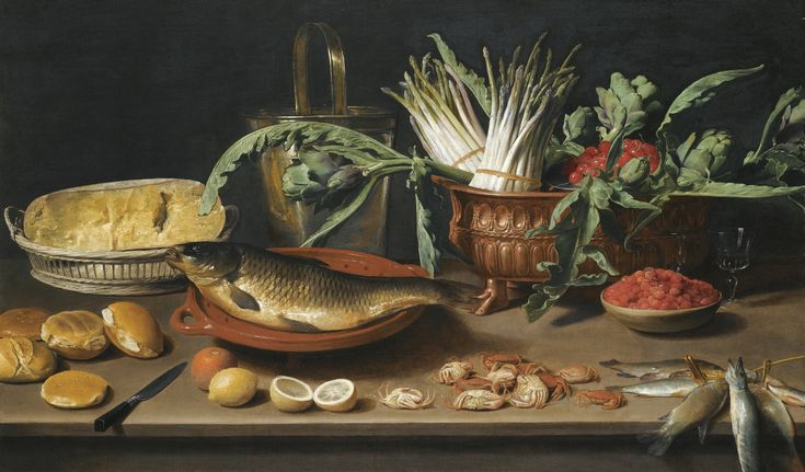 ✨  Jacob Foppens van Es ANTWERP 1596 - 1666 -  STILL LIFE WITH A FISH ON A TERRACOTTA PLATE, BUNCHES OF ASPARAGUS, ARTICHOKES AND CHERRIES IN A SCALLOPED DISH, TOGETHER WITH HALF A CHEESE IN A BASKET, BREAD ROLLS, FRAISES DE BOIS, LEMONS, ORANGES AND CRABS ALL ARRANGED ON A TABLE TOP, oil on canvas 82.2 by 138 cm.