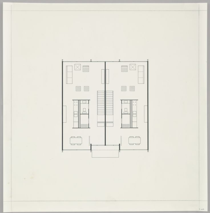 """Ludwig Mies van der Rohe. Pavilion Apartments and Town Houses, Lafayette Park, Detroit, MI, Plan (Two-story town house. First-floor plan.). 1955-63. Ink on acetate. 16 1/2 x 16"""" (41.9 x 40.6 cm). Mies van der Rohe Archive, gift of the architect. MR5506.9. © 2016 Artists Rights Society (ARS), New York / VG Bild-Kunst, Bonn. Architecture and Design"""