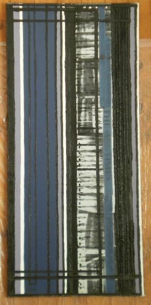 Stigma di menzione 50x109 olio, smalto, elementi fotocopiati, elementi tipografici