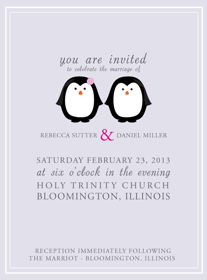 Penguin Wedding Invites Suite - PDF. $28.00, via Etsy.