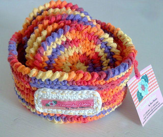 Ткачество искусств в Вязание крючком: Мой первый набор Подставки с Cestinho - Ну coloridinho!