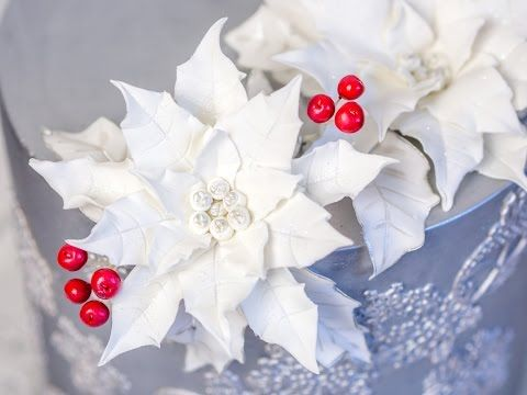 Weihnachtstorte Teil 1 - Einfacher Weihnachtsstern aus Blütenpaste* - YouTube