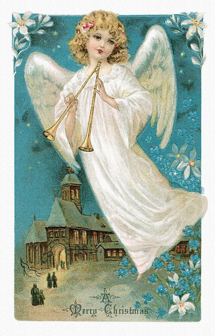 Рождественские открытки с ангелочками, оригинальные открытки