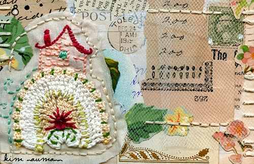 Stitched 1919 Postcard Collage by Kim Neumann...