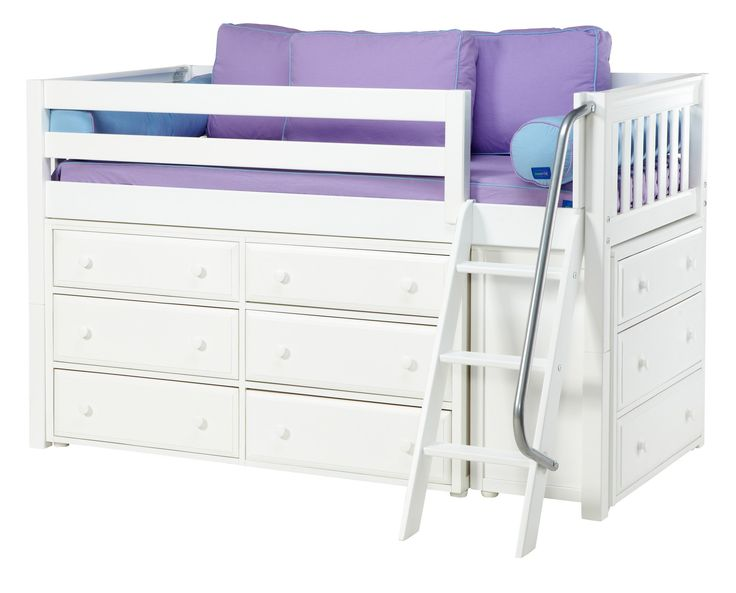 wc low loft bed with angle ladder 6 drawer u0026 low bookcase twin white curved girls loft and storage beds girls beds girls