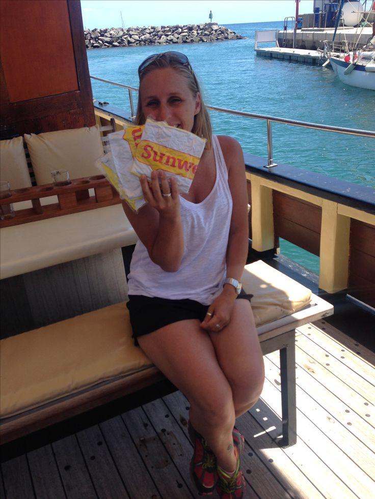Sofie van #Sunweb het zonnetje op de boot van Bussard