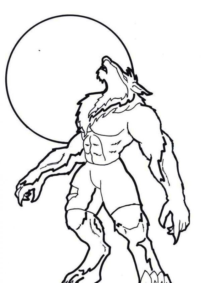 werewolf howling under moon light coloring pages fantasy