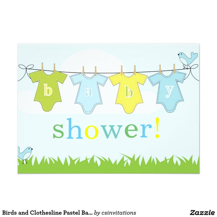 Birds and Clothesline Pastel Baby Shower Card