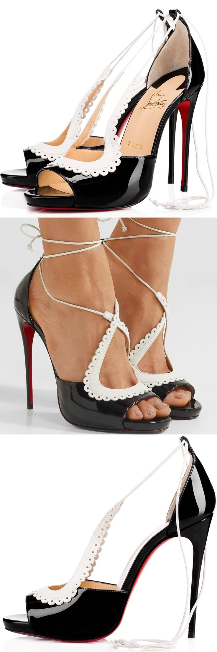 "Christian Louboutin's 'Operissima' sandals are modeled on the brand's classic silhouette but ""dressed up with a coquettish flair."" Made in Italy from black patent-leather, they're finished with pretty white scalloped cutouts that elegantly frame your foot and ties at the ankle. The slim stiletto heel is perfectly angled and shaped to reveal the iconic red sole as you walk."