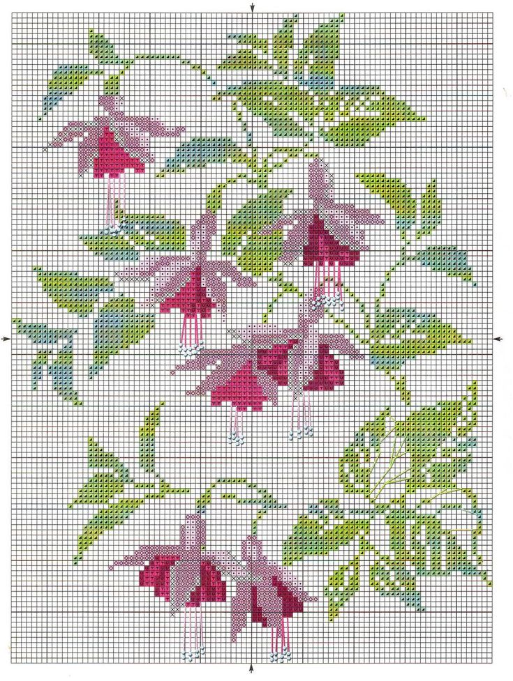 <3 Cross-stitch Fuchias ... no color chart available, just use the pattern chart as your color guide..